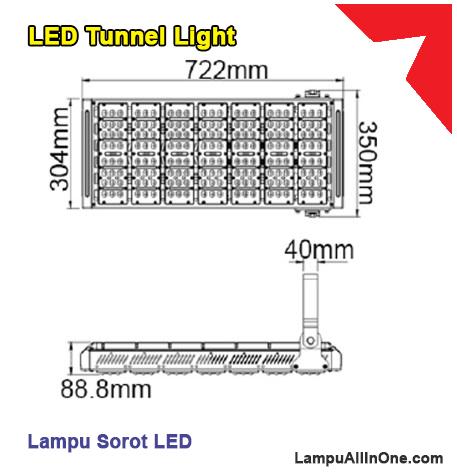 Ukuran lampu tunnel led sorot philips 210 watt