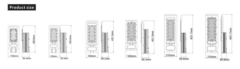 Diameter Lampu jalan berbagai daya